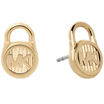 Michael Kors Hamilton Yellow Gold-Tone Logo Stud Earrings - Product number 8031843
