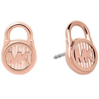 Michael Kors Hamilton Rose Gold-Tone Logo Stud Earrings - Product number 8031878