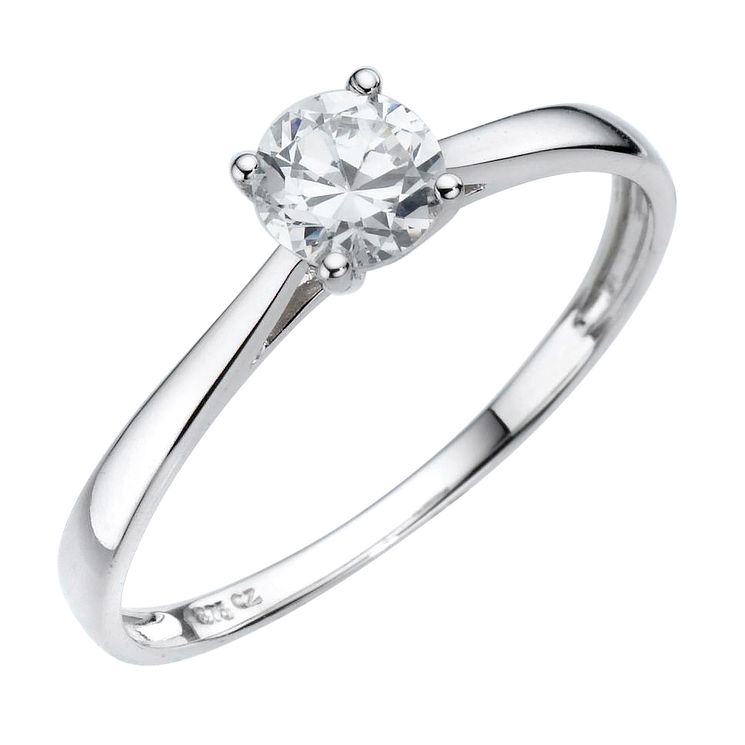 9ct White Gold Cubic Zirconia 1 2 Carat Look Solitaire Ring