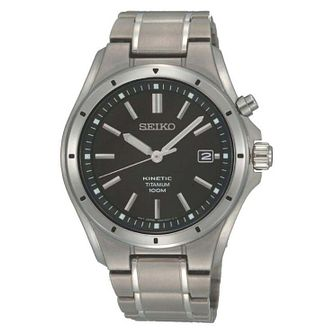 Seiko Kinetic Men's Titanium Black Bracelet Watch - Product number 8043108
