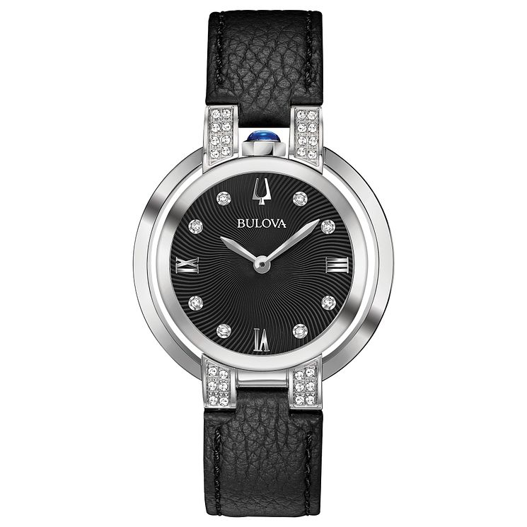 Bulova Ladies' Black Leather Strap Watch - Product number 8043523