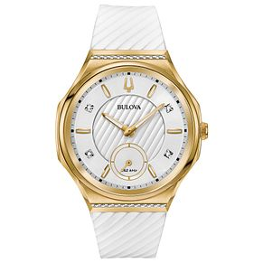 Bulova Ladies' Curv White Strap Watch - Product number 8043566