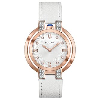 Bulova Ladies' White Leather Strap Watch - Product number 8043612