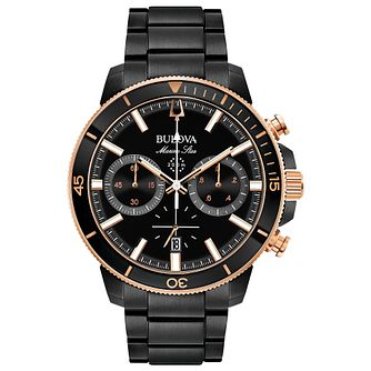 Bulova Men's Marine Star Black Ion Plated Bracelet Watch - Product number 8043736