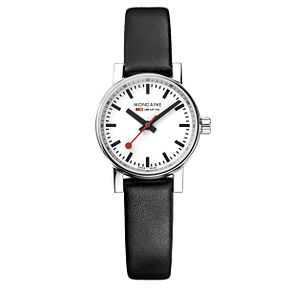 Mondaine Ladies' Evo2 Petite Black Leather Strap Watch - Product number 8043825
