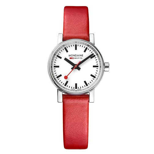 Mondaine Ladies' Evo2 Red Leather Strap Watch - Product number 8043833