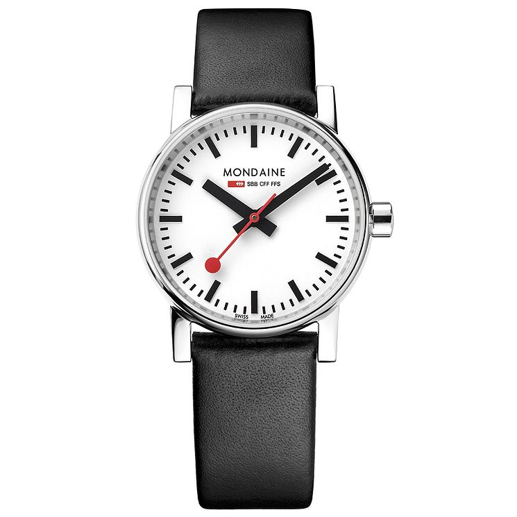 Mondaine Ladies' Black Leather Strap Watch - Product number 8043868