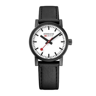 Mondaine Ladies' Black Leather Strap Watch - Product number 8043876