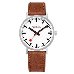 Mondaine Classic Men's Brown Leather Strap Watch - Product number 8043957