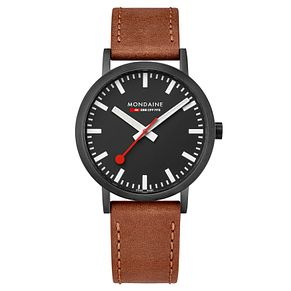 Mondaine Classic Men's Brown Leather Strap Watch - Product number 8043973