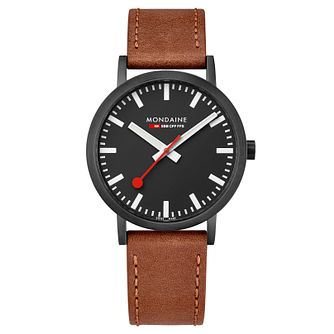 Mondaine Simply Elegant Brown Leather Strap Watch - Product number 8043973