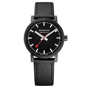 Mondaine Men's Evo2 Black Leather Strap Watch - Product number 8044023