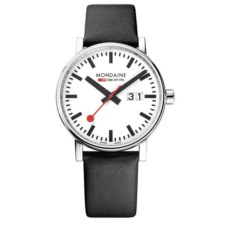 Mondaine Evo2 Men's Big Black Leather Strap Watch - Product number 8044066