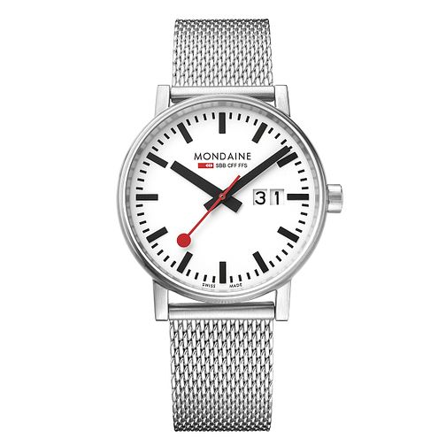 Mondaine Evo2 Men's Big Stainless Steel Mesh Strap Watch - Product number 8044074