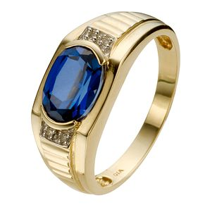 9ct Yellow Gold Created Sapphire & Diamond Set Ring - Product number 8045003