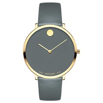 Movado Museum Ladies' Yellow Gold Plated Grey Strap Watch - Product number 8046077