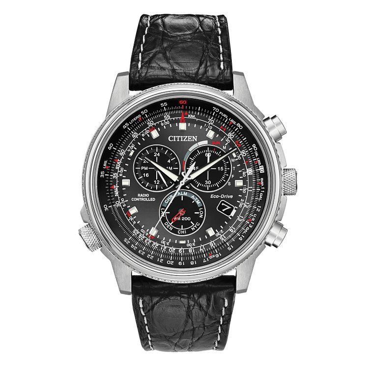 Citizen Eco-Drive Men's Black Leather Strap Watch - Product number 8048762