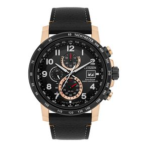 Citizen Eco-Drive Men's Black Leather Strap Watch - Product number 8048797