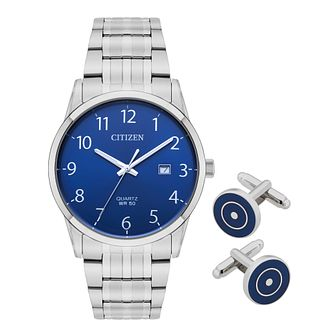 Citizen Men's Steel Bracelet Watch & Cufflink Set - Product number 8048800