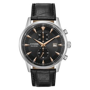 Citizen Eco-Drive Men's Black Leather Strap Watch - Product number 8048894
