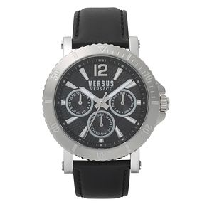 Versus Versace Steenberg Men's Black Leather Strap Watch - Product number 8049300