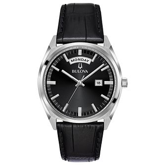 Bulova Men's Black Leather Strap Watch - Product number 8049459