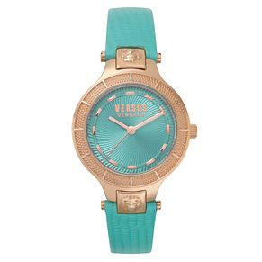 Versus Versace Claremont Ladies' Teal Leather Strap Watch - Product number 8049882