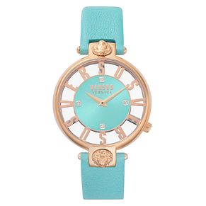 Versus Versace Kirstenhof Ladies' Teal Leather Strap Watch - Product number 8049955
