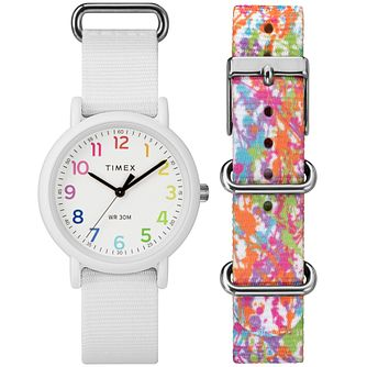 Timex Weekender Ladies' White Dial & Strap Watch Box Set - Product number 8050546