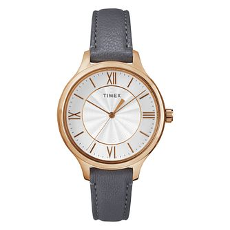 Timex Ladies' Silver Dial Dark Grey Strap Watch - Product number 8050708