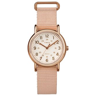 Timex Ladies' Weekender Natural Dial Pink Nylon Strap Watch - Product number 8050805