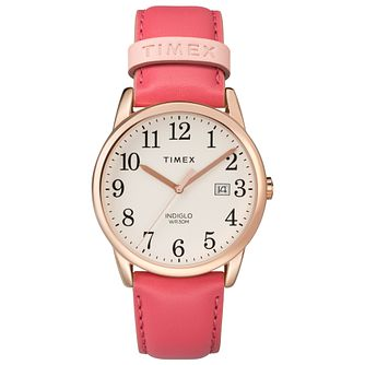 Timex Ladies' Easy Reader Pink Leather Strap Watch - Product number 8050813