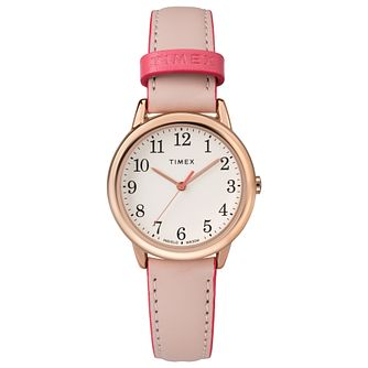 Timex Ladies' Easy Reader Pink Leather Strap Watch - Product number 8050872