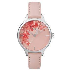 Timex Ladies' Pink Dial Pink Leather Strap Watch - Product number 8051569