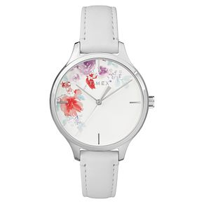 Timex Ladies' White Dial White Leather Strap Watch - Product number 8051801
