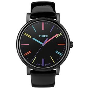 Timex Ladies' Original Black Dial Black Leather Strap Watch - Product number 8052018