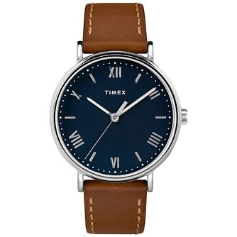 Timex Men's Southview Blue Dial Brown Leather Strap Watch - Product number 8054843