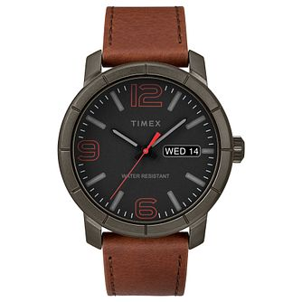 Timex Men's Classic Black Dial Tan Leather Strap Watch - Product number 8055203