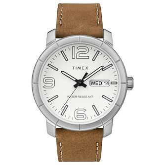 Timex Men's Classic White Dial Tan Leather Strap Watch - Product number 8055467
