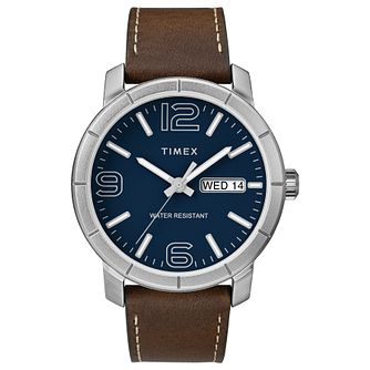 Timex Men's Classic Blue Dial Brown Leather Strap Watch - Product number 8055483