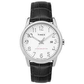 Timex Men's Easy Reader White Dial Black Leather Strap Watch - Product number 8055505
