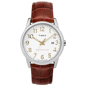 Timex Men's Easy Reader White Dial Brown Strap Watch - Product number 8055971
