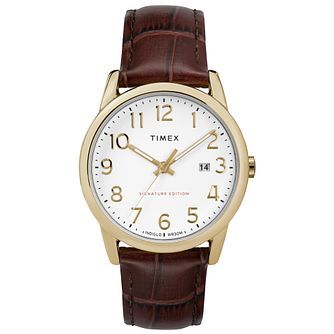 Timex Men's Easy Reader White Dial Brown Leather Strap Watch - Product number 8056048