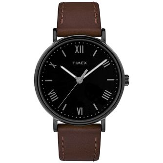 Timex Southview Men's Black Dial Brown Leather Strap Watch - Product number 8056072