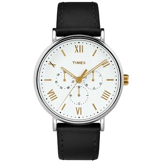 Timex Men's Southview White Dial Black Leather Strap - Product number 8057257