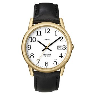 Timex Men's Easy Reader White Dial Black Leather Strap Watch - Product number 8057729