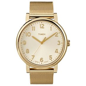 Timex Men's Champagne Dial Gold Tone Mesh Bracelet Watch - Product number 8057737