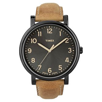 Timex Original Men's Black Dial Tan Leather Strap Watch - Product number 8057761