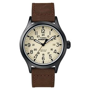 Timex Expedition Men's Cream Dial Brown Leather Strap Watch - Product number 8058555