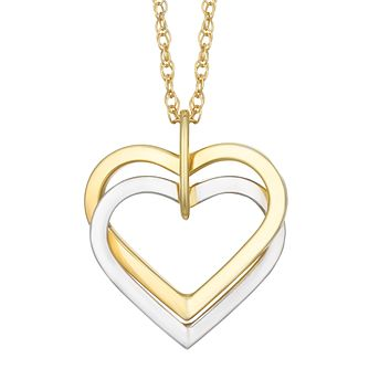 Heart necklaces hmuel together silver 9ct bonded gold double heart pendant product number 8064881 aloadofball Gallery